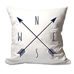 Crossed Arrow Compass Throw pillow Cover