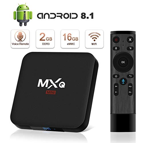Android 8.1 TV Box Superpow MXQ Mini S Android Box 2GB RAM+16GB ROM Quad-Core Voice Fernbedienung mit Bluetooth 4.0/ 3D/ 4k / 2.4Ghz WiFi / 100 LAN / H.265, HDMI Smart TV Box