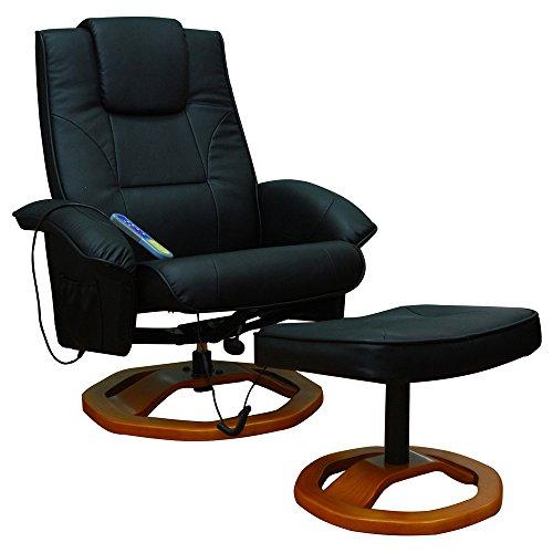 vidaXL Massagesessel Fernsehsessel mit Hocker Relaxsessel Massage+Heizung SCHWARZ NEU 2