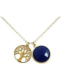 Gemshine - Damen - Halskette - Anhänger - LEBENSBAUM - 925 Silber Vergoldet - Saphir - Blau - 45 cm