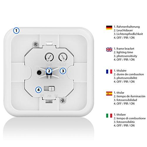 deleyCON Infrarot Wand-Bewegungsmelder – für Innenbereich – 160° Arbeitsfeld – Reichweite bis 9m – einstellbarer Umgebungshelligkeit – IP20 Schutzklasse – für Unterputz-Montage – Weiß - 4