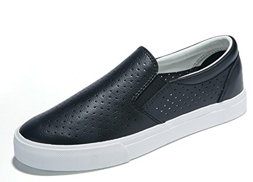 SHFANG Scarpe da cuoio Lady Shoes Scarpe NET Bottoni piatti Movimento di svago Studenti Daily Black White Black