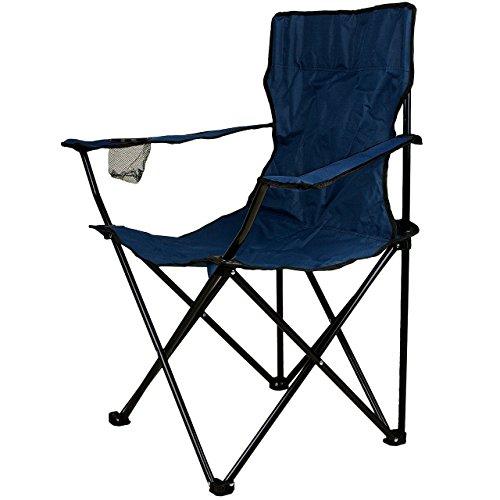 Nexos Angelstuhl Anglerstuhl Faltstuhl Campingstuhl Klappstuhl mit Armlehne und Getränkehalter praktisch robust leicht blau -
