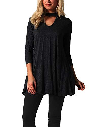 YOINS Damen Tshirt Kleider Langarm Sexy Kleid für Damen V-Ausschnitt Langes Kleid mit Ärmeln Schwarz EU46