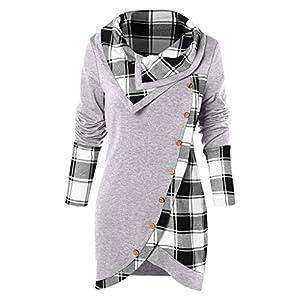 BESSKY Blouse Women Long Sleeve Plaid Turtleneck Tartan Tunic Sweatshirt Pullover Tops Plaid Bedruckte Langärmel Unregelmäßiges Top