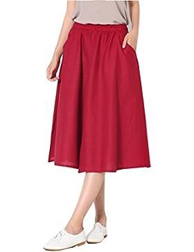 LaoZanA Elegante Falda Anchos Pierna Cintura elástica Faldas Culotte Lino de Mujer