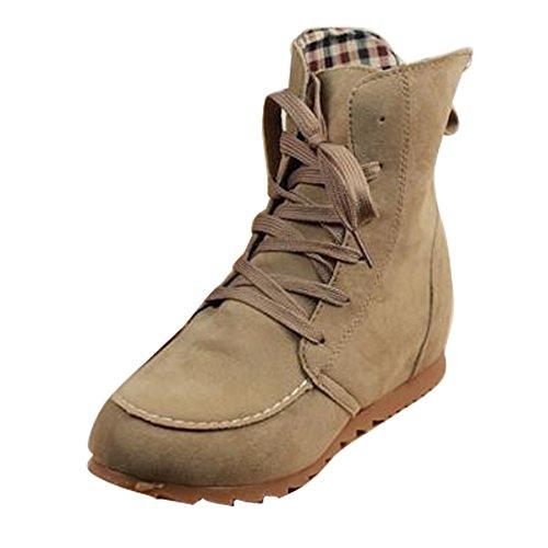 Gaorui Damen Winter Herbst Kurzschaft Schnürstiefeletten Flache Ankle Boots Textilfutter Schwary Grau Beige Kunstleder Beige