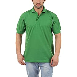 Kalpit Men's Comfort Soft Premium Cotton plain Polo Collar Half Sleeve T-Shirt with Solid Color (Available in many colours) (GREEN, Large)