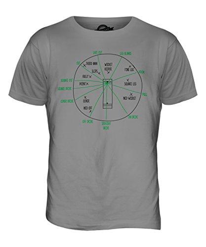 CandyMix Cricket Posizioni Per I Fielder T-Shirt da Uomo Maglietta Grigio chiaro