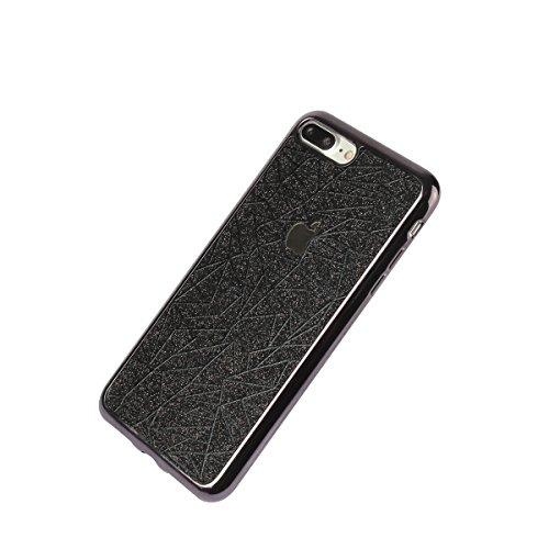 iPhone 8 Hülle, iPhone 7 Plating Gold TPU Bumper Case Soft Silikon Gel Schutzhülle mit Glitzer Bling Diamant & Kippständer Ring, Kristall Muster Stoßdämpfend Gel Schale Etui für Apple iPhone 7/8 + 1 x Schwarze Geometrie