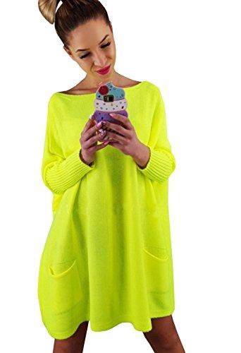 Lsecret  Damen Pullover Tunika Pulli Taschen Neon Farben NEU 36 38 40 (Neon Gelb)