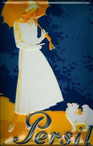 Blechschild Persil Frau mit Hund und Sonnenschirm Waschpulver Schild Nostalgieschild