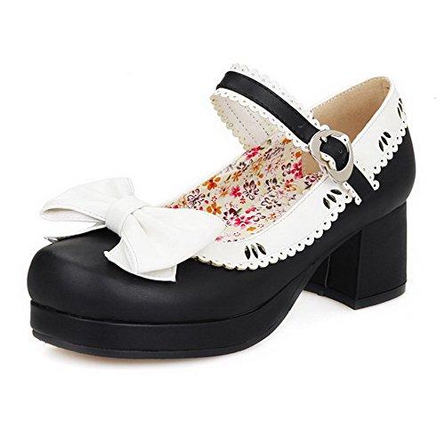 AllhqFashion Femme Couleurs Mélangées Pu Cuir à Talon Correct Rond Boucle Chaussures Légeres Noir