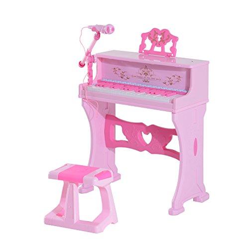 Homcom 37Schlüssel Mini elektronisches Keyboard Licht Kinder Musikinstrument Lernspiel Kinder Grand Piano Spielzeug-Set W/Hocker & Mikrofon & Musik Stand (Pink) (Mini Grand Piano)