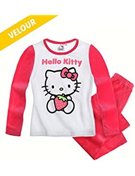 Hello Kitty Chicas Pijama (Velour) Talla 104 116 128 140 - Rojo