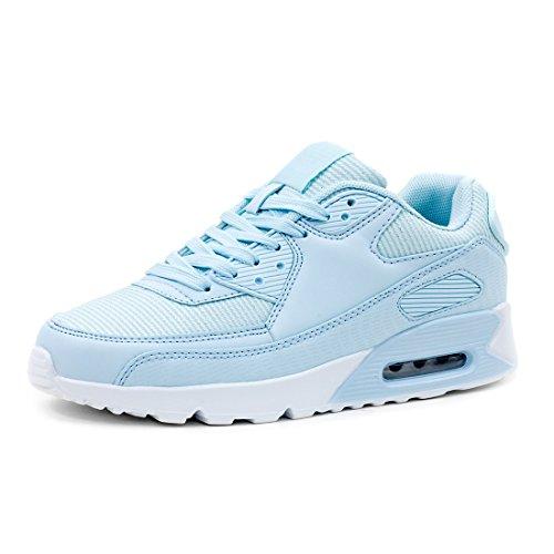 Trendige Damen Laufschuhe Schnür Sneaker Sport Fitness Turnschuhe Glitzer Blau 39