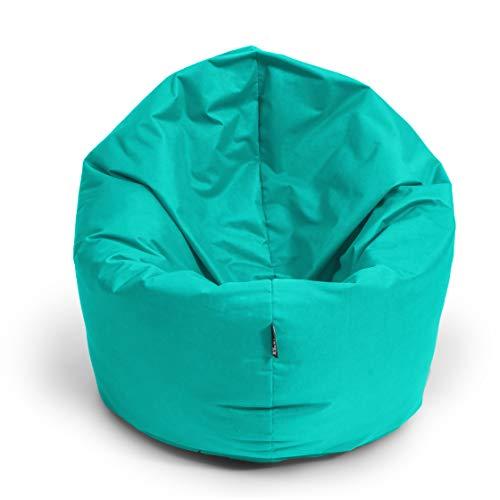 BuBiBag Sitzsack M - XXL 2 in 1 mit Füllung Sitzkissen Tropfenform Bodenkissen Kissen Sessel BeanBag (145 cm Durchmesser, türkis)