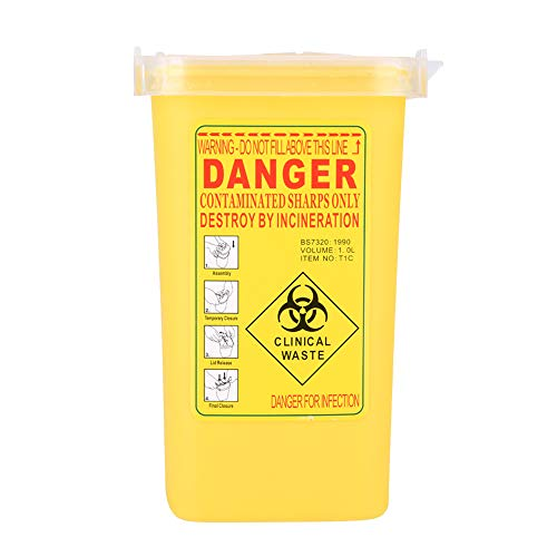 Tattoo Médical En Plastique Médicaments Sharps Conteneur Biohazard Mise Au rebut 1L Taille Waste Box (Color : Yellow)