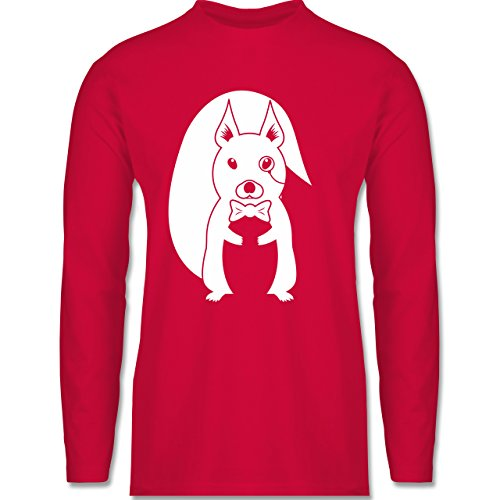 Shirtracer Hipster - Hipster Eichhörnchen - Herren Langarmshirt Rot