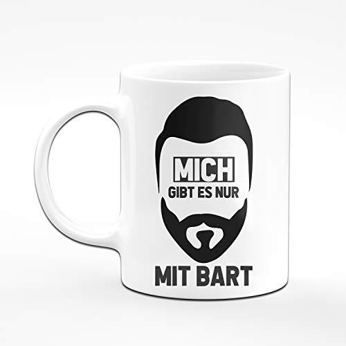 Tassenbrennerei Tasse mit Spruch Mich gibt es nur mit Bart - Kaffeetasse für bärtige Männer Geschenk für Mann, Freund Tassen mit Sprüchen lustig (Weiß) - 2