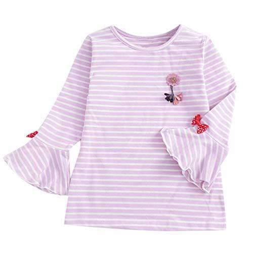 LEXUPE Bekleidung Todder scherzt Baby Mädchen gestreifte Karikatur übersteigt Rüschen niedrige Hemd Blusen Kleidung