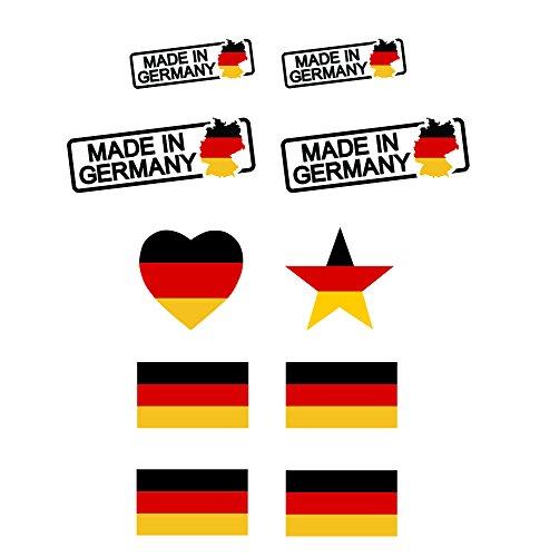 Deutschland Tattoo Sticker, Tattoo Aufkleber, Stern, Herz, Made in Germany, Olympia und EM Fanartikel 2016 - Deutschland Fanartikel