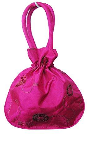 Mini String en satin soyeux Fermeture Sac à main Sac de soirée avec paillettes on-dark Rose