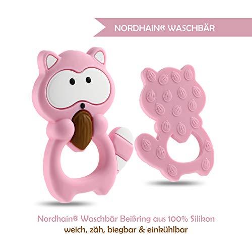 Nordhain Waschbär Beißring Rosa für Babys aus hochwertigem Silikon - unterstützender Spielkamerad & Freund deines Babys in zahnender Zeit