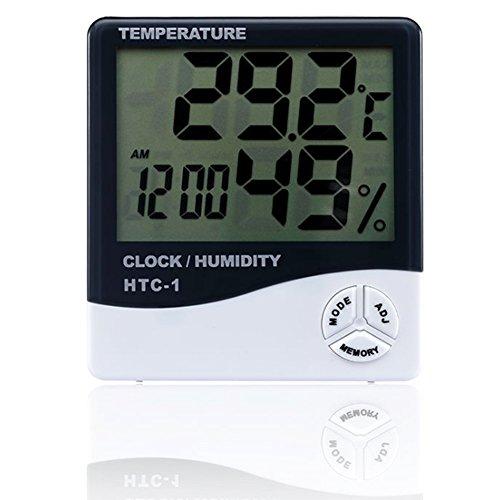 Hemore Temperatur-Feuchtigkeits-Monitor, Multifunktions-LCD-Bildschirm-Anzeige-Genauigkeits-Thermometer-Hygrometer für Innen- und im Freien HTC-1 Möbelzubehör Wohnaccessoires