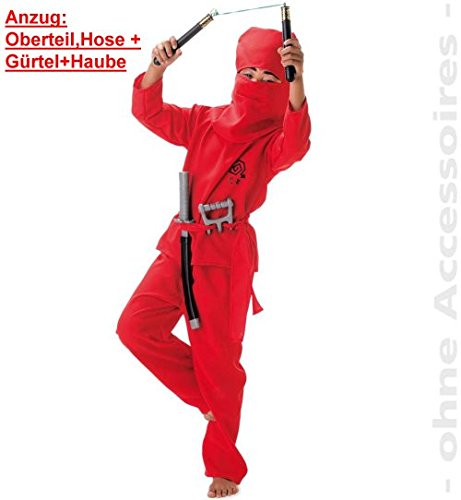 4tlg. Hose + Oberteil + Gürtel + Haube Fasching Kinderkostüm (Krieger Mönch Kostüm)