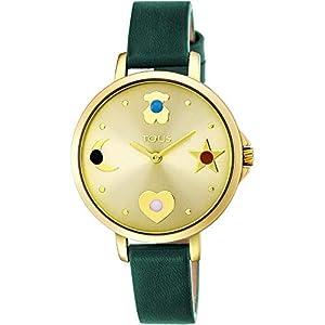 Reloj Tous Super Power de Acero IP Dorado con Correa de Piel Verde 800350725