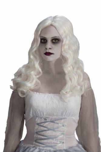 Geist Langhaar-Perücke mit Locken Halloween weiss Einheitsgröße (White Ghost Lady Kostüm)