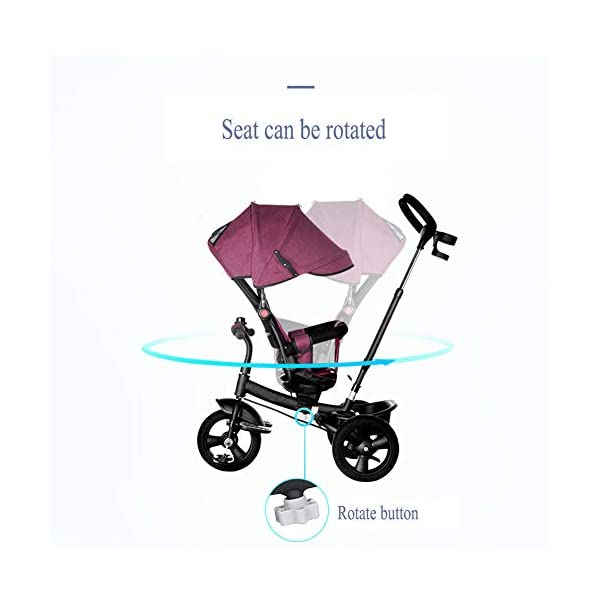 GSDZSY - 4 In 1 Kids Tricycle 3 Wheel Bike Baby Stroller, Foldable With Removable Push Handle Bar, Non-inflatable Rubber Wheel,Adjustable Awning, 1-5 Years,A GSDZSY ❀ Material: high carbon steel + ABS + rubber wheel (non-inflated) ❀ Features: Tricycle can be folded, push rod can be adjusted height, suitable for people of different heights; seat can be adjusted, parasol can be adjusted, suitable for different weather, rear wheel with brake ❀ Performance: high carbon steel frame, strong and strong bearing capacity; rubber wheel anti-skid and wear-resistant, suitable for all kinds of road conditions, good shock absorption, seat with breathable fabric, baby ride more comfortable 8