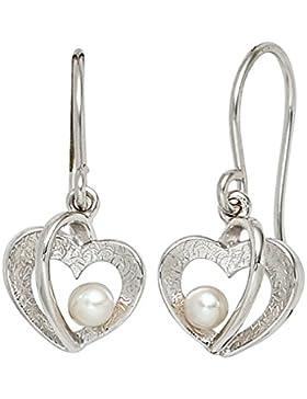 925 Sterling Silber Ohrringe - Herz mit Perle - China-Zuchtperle - B 11,20 mm - H 24,80 mm