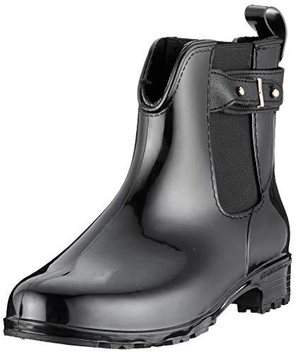 Bequeme Damen Stiefeletten Gummistiefel Lack Schuhe 144483 Schwarz Schnallen 38 EU Flandell