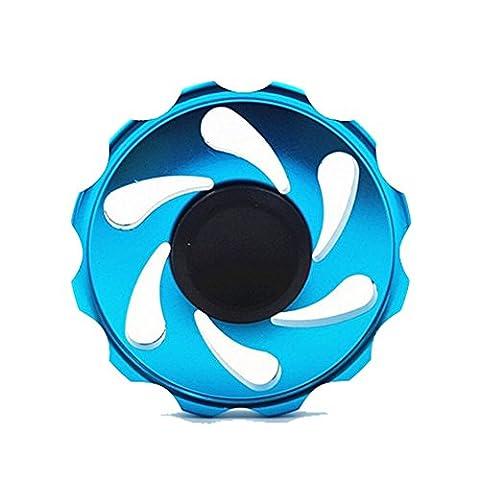Petansy Jouet à doigt en alliage d'aluminium et jouet à rouleaux Plus récents Design de roue EDC Tri Fidget Toy Perfect for Adult & Kids (Blue)