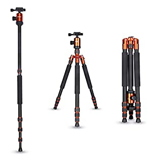 Rollei Allrounder Aluminium tripod Orange with ball head - compatible with DSLR & DSLM cameras - incl. monopod, Acra Swiss quick release plate & tripod bag