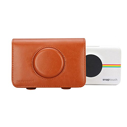 SUNYOY Estuche de cuero sintético para Polaroid Snap Touch (Marrón)