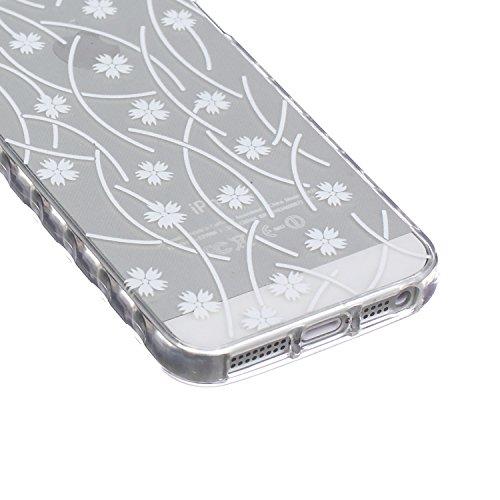 Custodia Cover per iPhone 5S Silicone,TOCASO Case for iPhone 5 5S Soft Case Transparent Gel Skin Bumper Chiaro Cristallo Slim Silicone Caso Modello Bianco Piuma Uccello Freedom di TPU Trasparente Sott Crystal Cover,#35