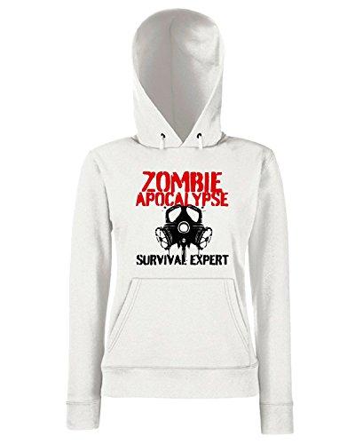 T-Shirtshock - Sweats a capuche Femme TZOM0010 zombie apocalypse survival expert Blanc