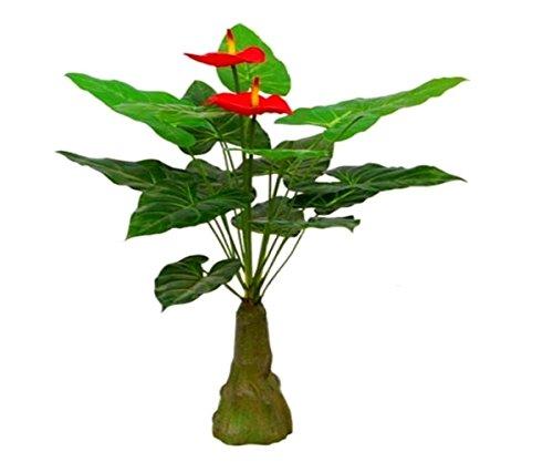 Starline Kunstpflanze Anthurie Flamingoblume mit 2-3 Blüten ca.80 cm Star-LINE® Kunstblume bringt Leuchtend Rote Farbtupfer in Jede Wohnung Kunst Blume