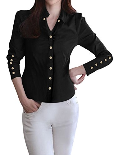 allegra-k-lady-point-collar-full-sleeve-button-decor-cuffs-casual-shirt-m-black