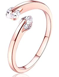 Valentine gift by Karatcart Rose GoldPlated Heart Cut Elegant Austrian Crystal Adjustable Ring For Women
