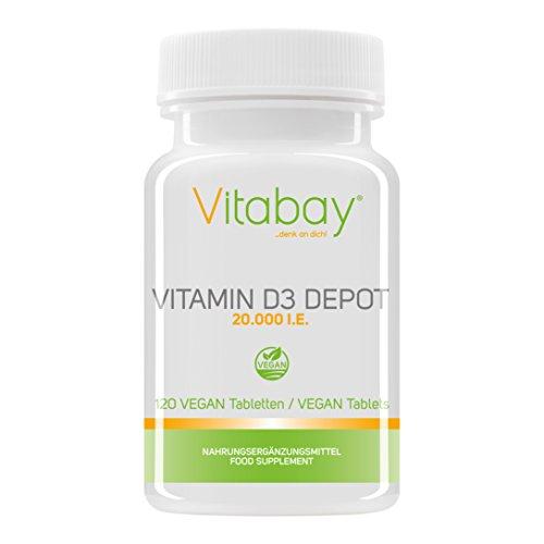 Vitamin D3 Depot 20.000 I.E. Nur eine Vegan Tablette / 20 Tage (120 Vegane Tabletten) (Bücher über Vitamine & Nahrungsergänzungsmittel)