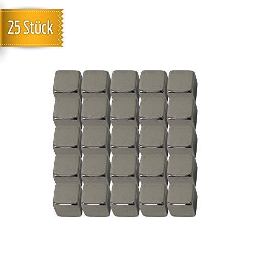 25 Stück Neodym Würfel-Magnete | extra starke Magnetisierung N52 - quadratischer Magnet 8x8x8 mm | enorm hohe Haftkraft // Büro // Kühlschrank // Whiteboard // Schule // Küche von MagnetMate® - Magnete Quadratische
