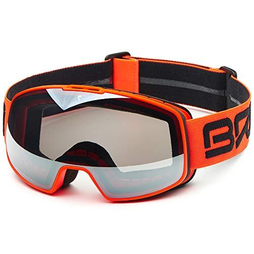 Briko Nyira Skibrille, Unisex, Erwachsene Einheitsgröße Matt, Neon-Orange/Schwarz