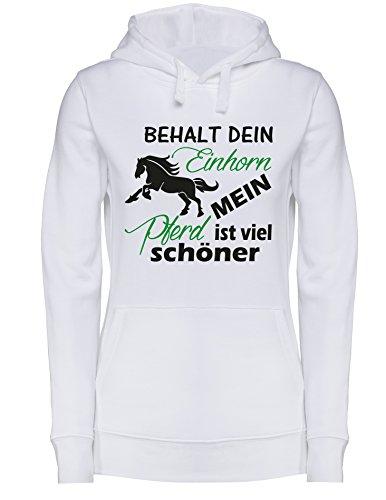 Behalt dein Einhorn mein Pferd ist viel schöner - Damen Hoodie Weiss/Schwarz-gruen