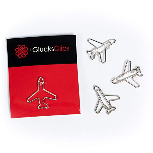 Büroklammern, 11x Büroklammer Motiv Flugzeug, als Deko oder Lesezeichen. Paperclip I Paper Clips, Briefklammer oder Bookmark, für Büro oder Zuhause, C022