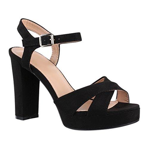 Elara Damen Pumps   Bequeme Peep-Toe Sandalette   Trendige Plateau High Heels   Chunkyrayan 7128-GL Black-38