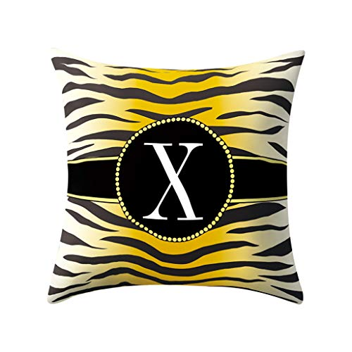 Jareina English Alphabet Kissenbezüge, Zebra-Muster, Couch-Kissen, Kinderzimmer, Deko, Nickerchen, 45 x 45 cm, X, 45×45CM